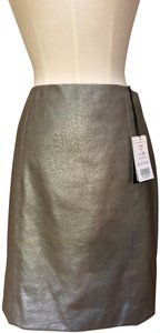 Etcetera Faux Leather Skirt Silver Taupe