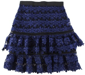 self-portrait Lace Tiered Floral Skirt Blue, Black