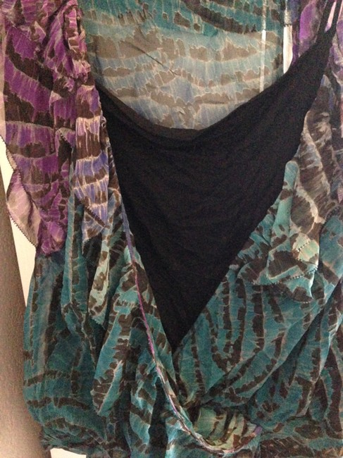 Diane von Furstenberg Purple Black Teal Terquoise White Work Cocktail Sleeveless Ruffle Top Multicolor