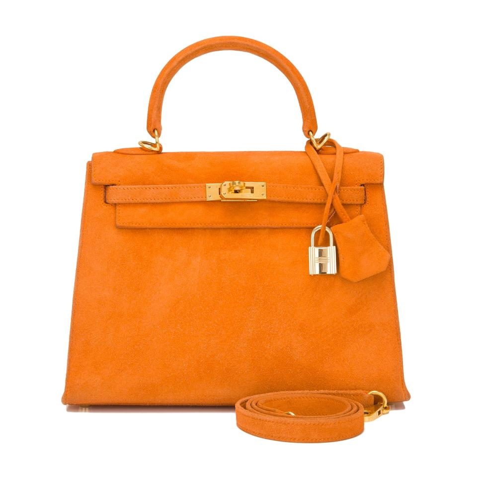 94422a9011e5 Hermès Kelly Doblis Sellier 25cm Gold Hardware Orange H Suede ...