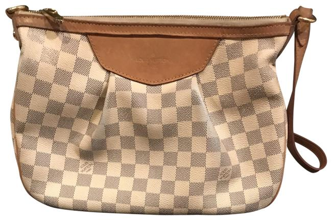 Item - Shoulder Siracusa Damier Azur Canvas Mm Grey and Cream Leather Cross Body Bag