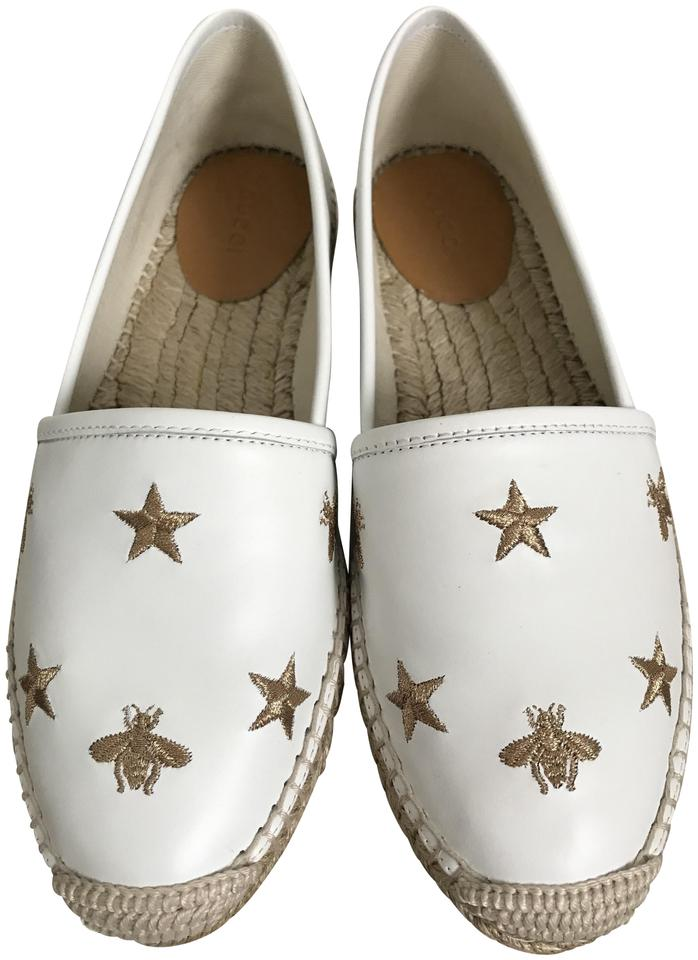 b34708f48c1 Gucci White Bee Star Embroidered Leather Espadrille Flats Size EU ...