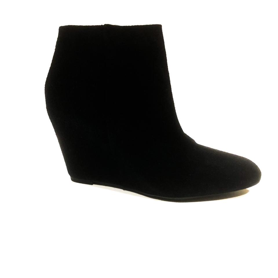 7db5cd95d27d Via Spiga Black Harrison Suede Wrapped Heel Wedge Boots Booties Size ...