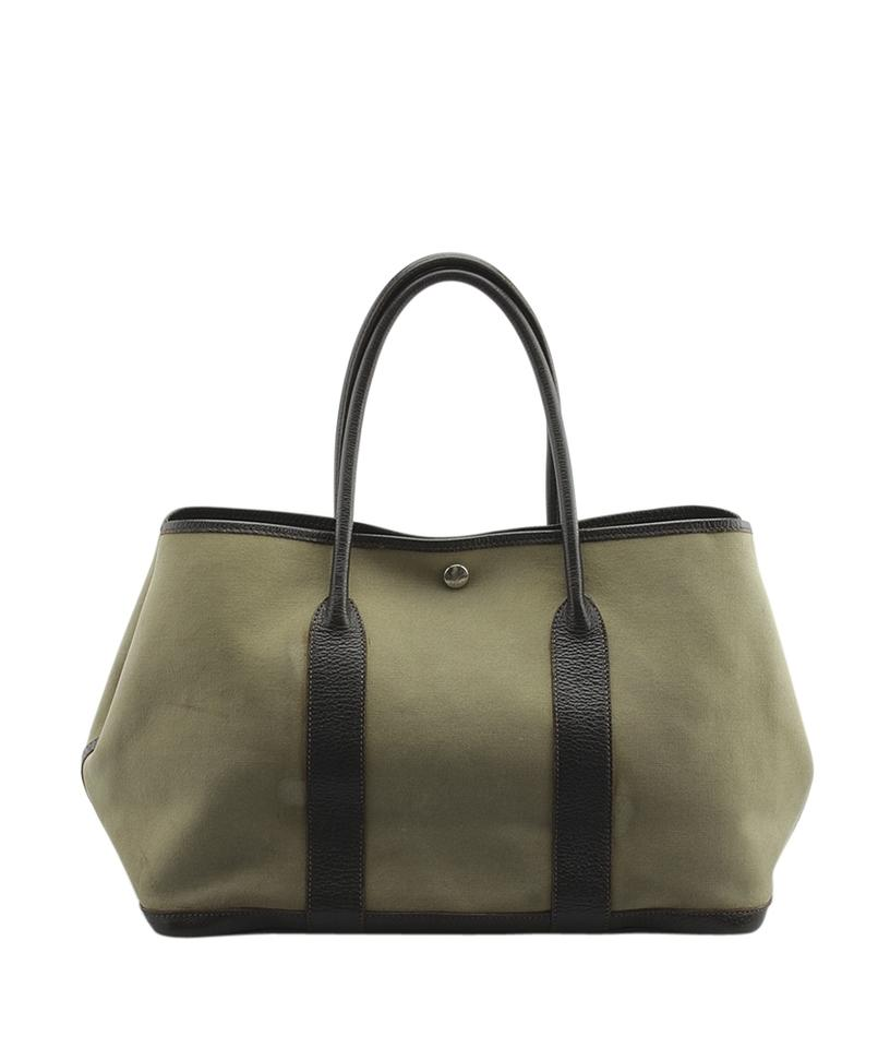 665a343253fe Hermès Garden Party 30 Pm Brown Leather (145627) Green Canvas Tote ...