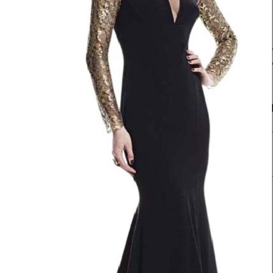 a425d79803 Theia Black Gold Mesh Decollete Mermaid Gown Long Formal Dress Size 4 (S) -  Tradesy