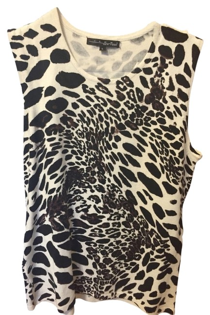 Pierri New York Animal Print Animal Knit Shell Viscose Top tan