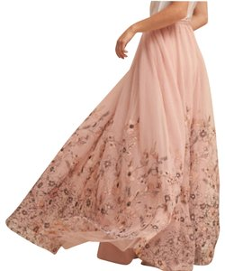 Anthropologie Tulle Wedding Maxi Skirt Rose pink blush