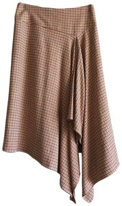 Talbots Plaid. Checkered Midcalf Classic Stretchy Skirt Brown