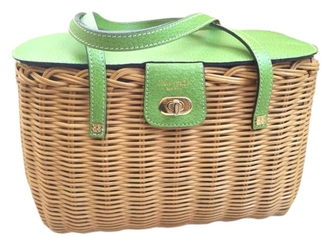 Item - Lime Green/Brown Leather and Straw Beach Bag