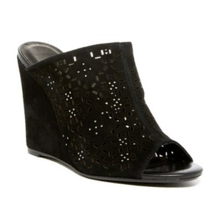 Joie Sandal Studded Perforated Leather Black Wedges