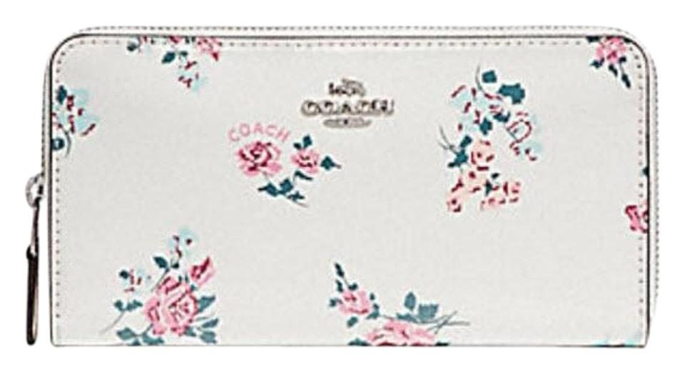best cheap 7a47a f13e0 Coach Chalk Accordion Zip with Cross Stitch Floral Print F26294 Wallet