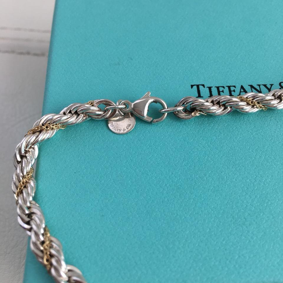 4125ac88c Tiffany & Co. Silver 925 18k 750 Yellow Gold Rope Chain 24