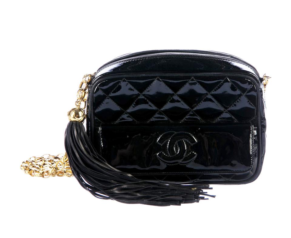5e1109335f3b Chanel Camera Vintage Quilted Tassel Black Patent Leather Cross Body ...