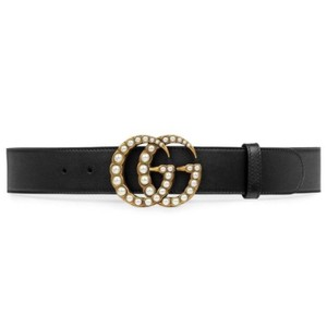 Gucci pearl GG logo leather belt size 90