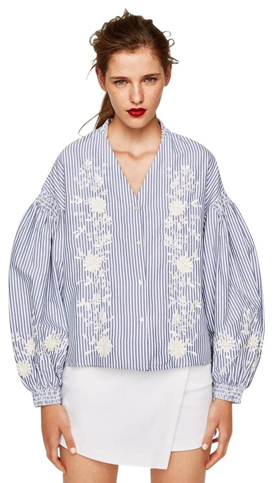 06625ee5 Zara Blue White Striped with Puff Sleeves Blouse Size 2 (XS) - Tradesy