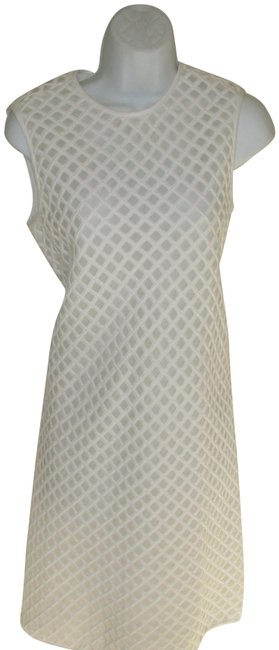 Item - Off White Lattice Cotton Mid-length Night Out Dress Size 8 (M)