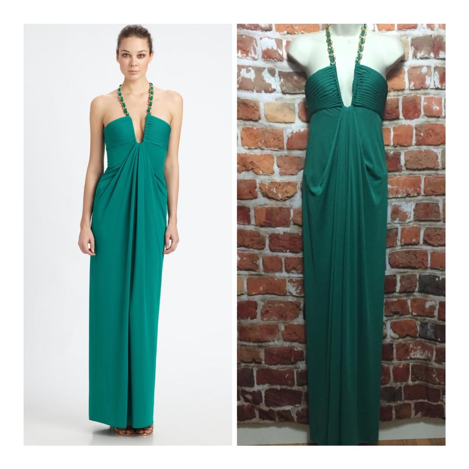 BCBGMAXAZRIA Green Sophira Chain-necklace Long Formal Dress Size 4 ...