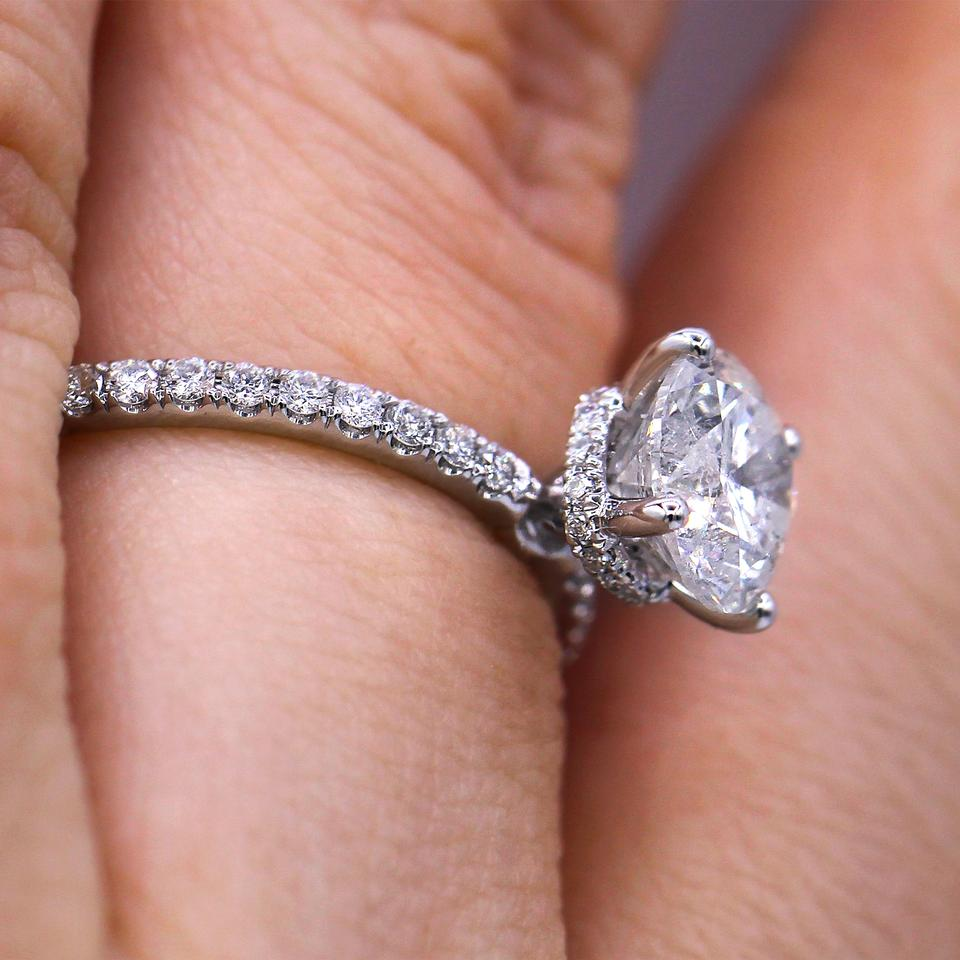 French Pave Set Round Cut Diamond Engagement Ring - Tradesy