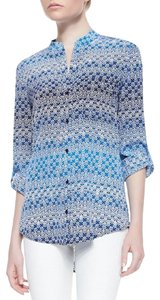 Diane von Furstenberg Print Silk Button Down Shirt Blue