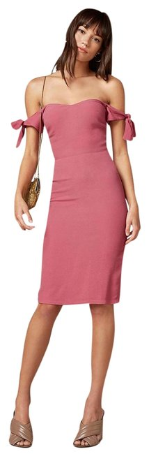 Item - Pink Marla Cerise Off Shoulder Tie Sleeve Fitted Pencil Short Night Out Dress Size 8 (M)