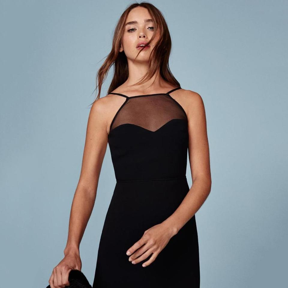 Reformation Black Margot Fitted Sheer Yoke Top High Neck Fitted Sexy ...