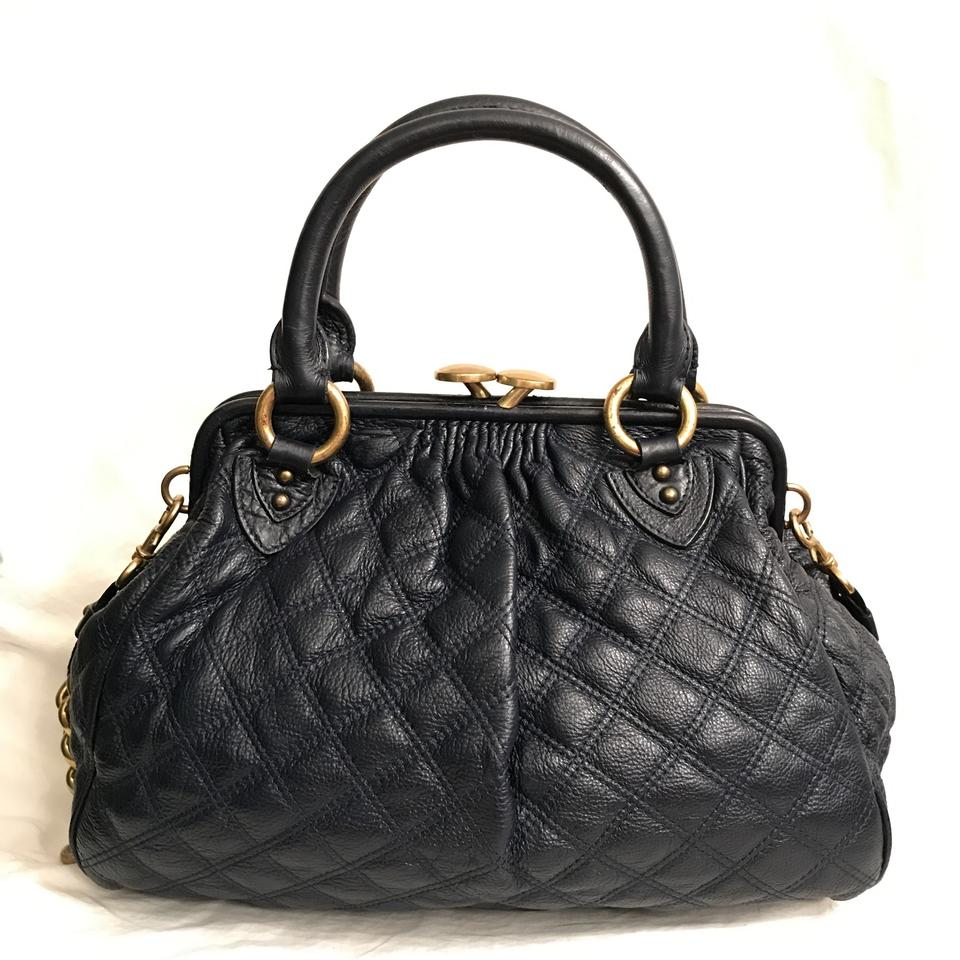 9114c128384a Marc Jacobs Stam Quilted Navy Blue Gold Leather Satchel - Tradesy
