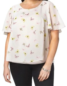 Evans Soft Lining Chiffon Overlay Butterfly Print Short Sleeves Flowy Top NWT
