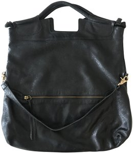 Foley + Corinna Tote in Black Glossy Distressed Leather