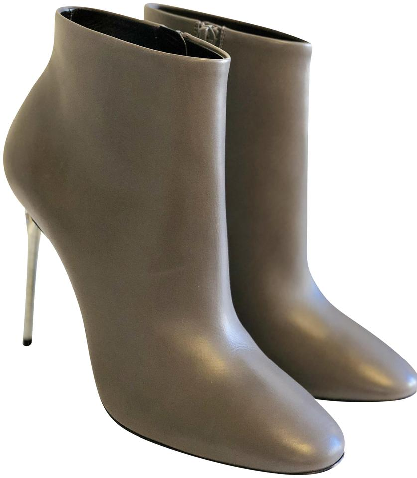 Balenciaga Grey George V Plexi-heel Leather Ankle Boots Booties Size ... 38fdde77e3f6