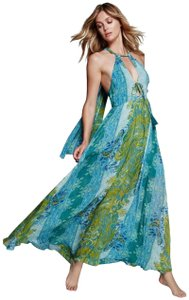 NWT Blue Maxi Dress by Free People Semi Sheer Drapey Ties Super Breezy Partially Lined Cutout Detailing