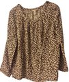 J.Crew Animal Print Linen Top Brown/Stone