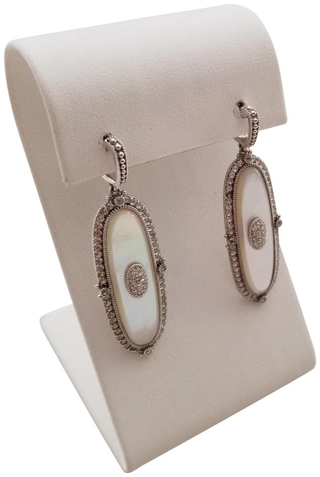 Judith Ripka 925 Sterling Silver Mother Of Pearl And White Topaz Earrings