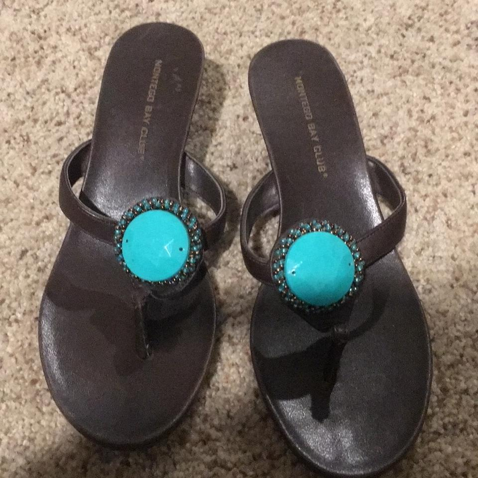 2549b9627 Montego Bay Club Brown Jeweled Turquoise Sandals Size US 7.5 Regular ...