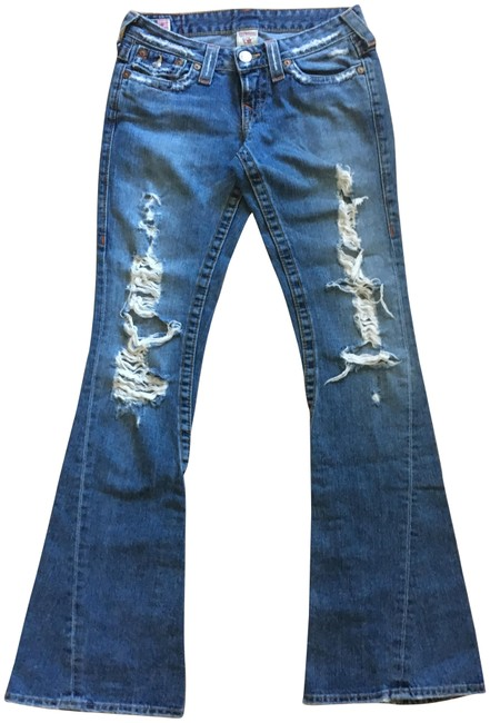 Item - Medium Blue Distressed Leg Boot Cut Jeans Size 26 (2, XS)