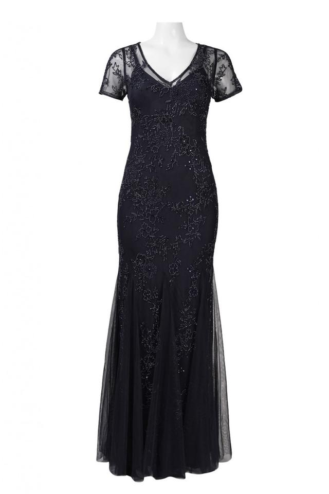 Adrianna Papell Navy Short Sleeve Evening Gown Long Formal Dress ...