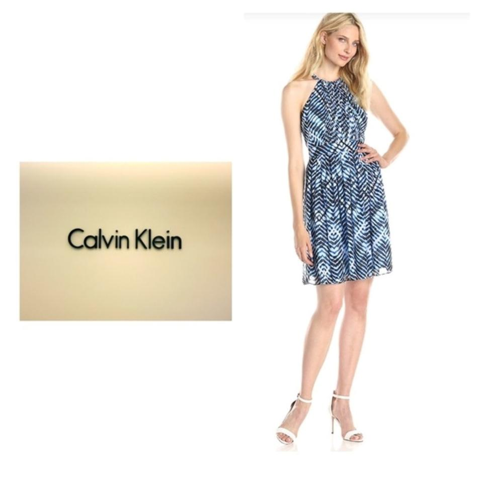Calvin Klein Chiffon Halter Sleeveless Dress