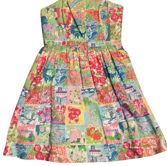 Lilly Pulitzer Multi State Patch Lottie Mid-length Short Casual Dress Size 0 (XS) Lilly Pulitzer Multi State Patch Lottie Mid-length Short Casual Dress Size 0 (XS) Image 1