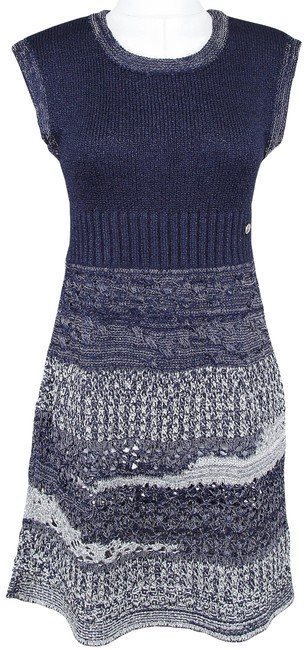 Item - Blue Silver Sweater Knit Sleeveless Navy Cc 36 12p 2012 Mid-length Short Casual Dress Size 4 (S)