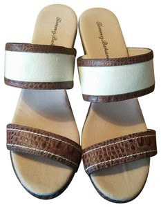 Tommy Bahama Brown and Beige Sandals