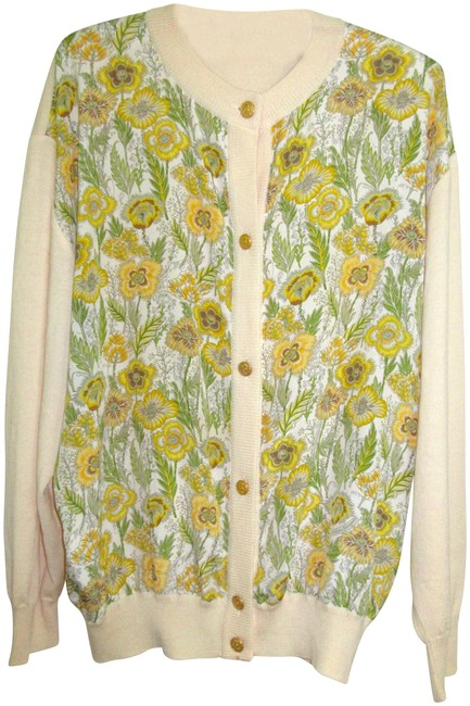 Item - Silk / Wool Floral Cardigan Gold Tone Embossed Buttons Cream Yellow Green Sweater