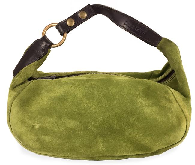 Item - Italy Classic Vintage Mini Green Suede Leather Baguette
