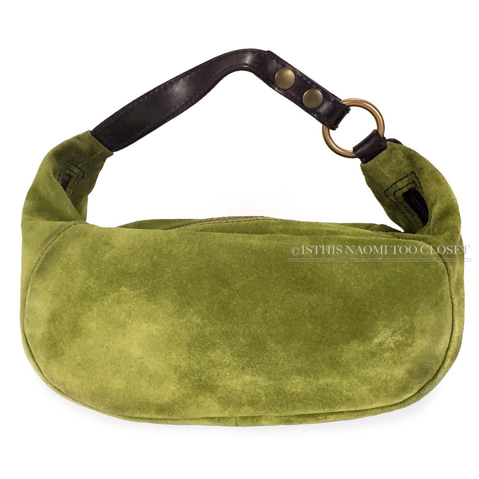 Miu Miu Italy Classic Vintage Mini Green Suede Leather Baguette ... 5fed27ecd725b