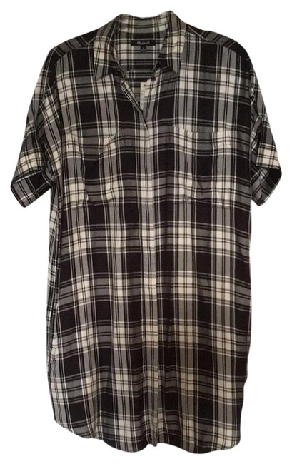Preload https://item3.tradesy.com/images/madewell-black-and-ivory-plaid-sleeved-mid-length-short-casual-dress-size-8-m-23025232-0-1.jpg?width=400&height=650