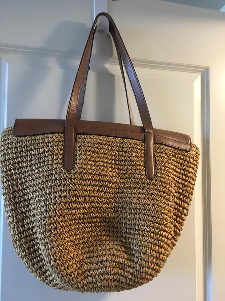 fc017d870073 MICHAEL Michael Kors Large Naomi Walnut Leather/Straw Tote - Tradesy