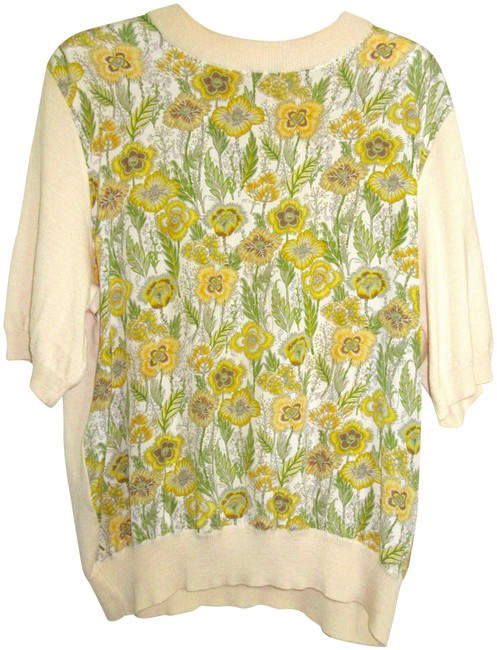 Item - Silk / Wool Floral Short Sleeve Gold Tone Embossed Buttons Cream Yellow Green Sweater