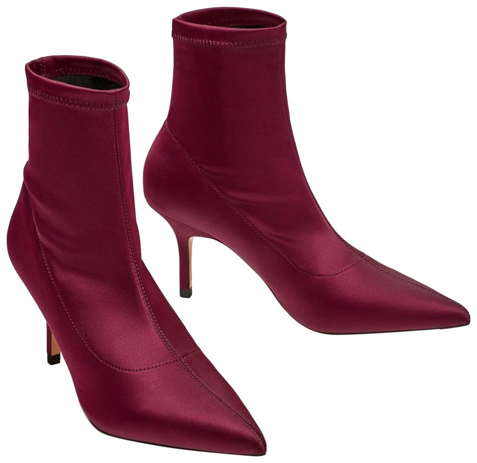 2253a9104b1 Zara Purple High Heel Pointy Satin Ankle Boots Booties Size US 6 ...