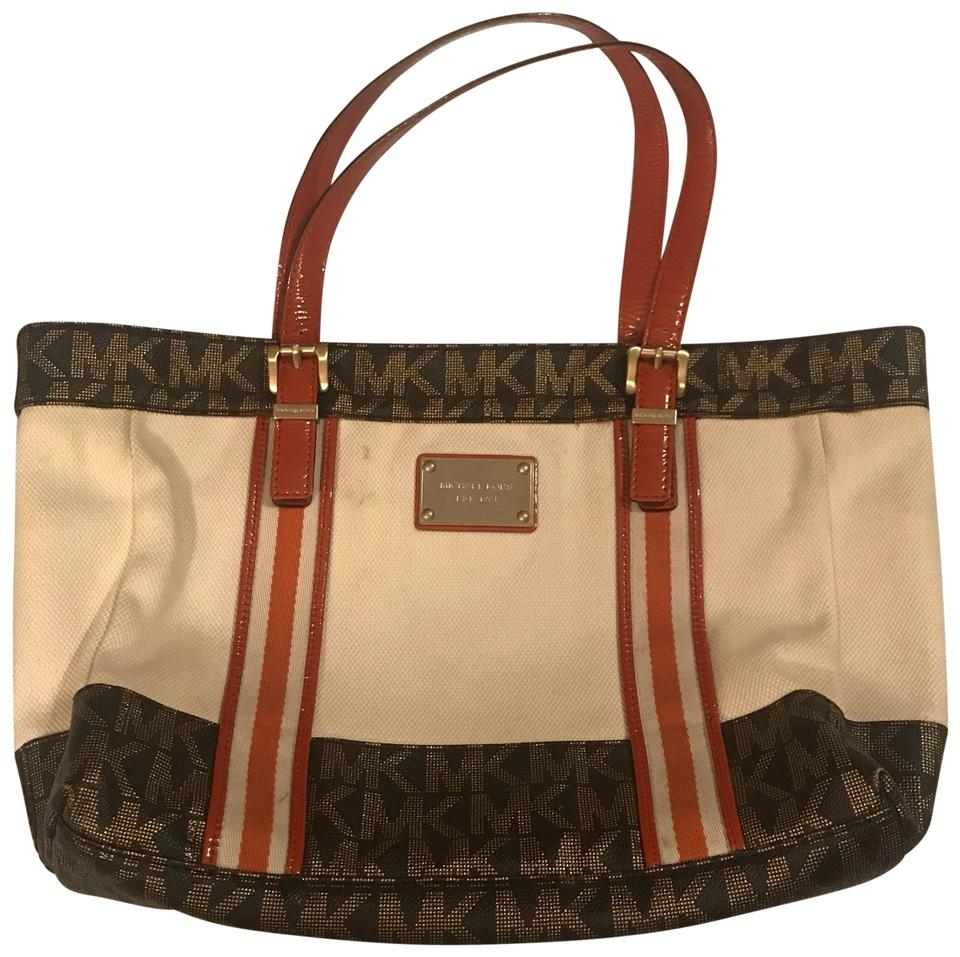69d20e2ca49b ... coupon for michael kors tote in cream and brown and orange and gold  51cae 7cce7