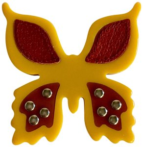 Prada PRADA Yellow Resin Red Leather Butterfly Pin Brooch