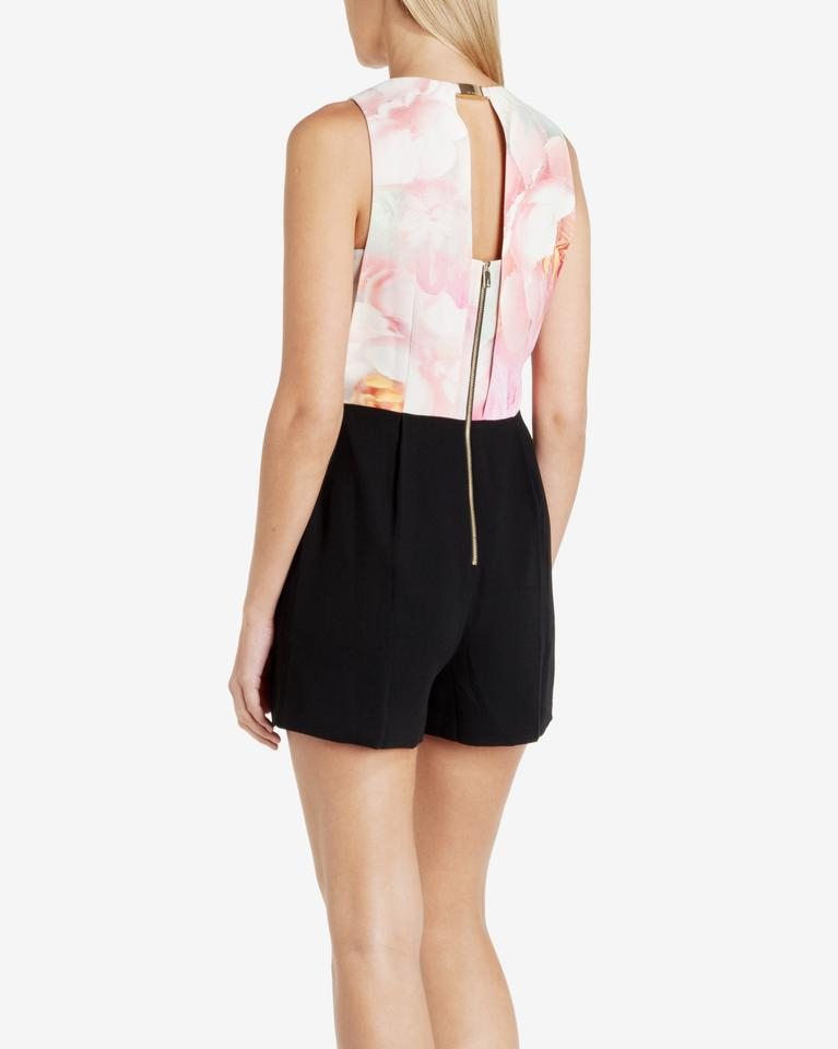 75a91224e70b4 Ted Baker Pink Black Rose On Canvas Playsuit Romper Jumpsuit - Tradesy