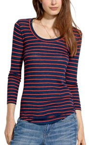 Madewell T Shirt Navy Blue and Red Orange